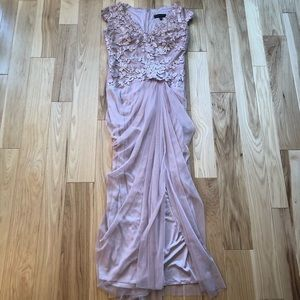 Tadashi Shoji Sequined Ruched Gown with Slit